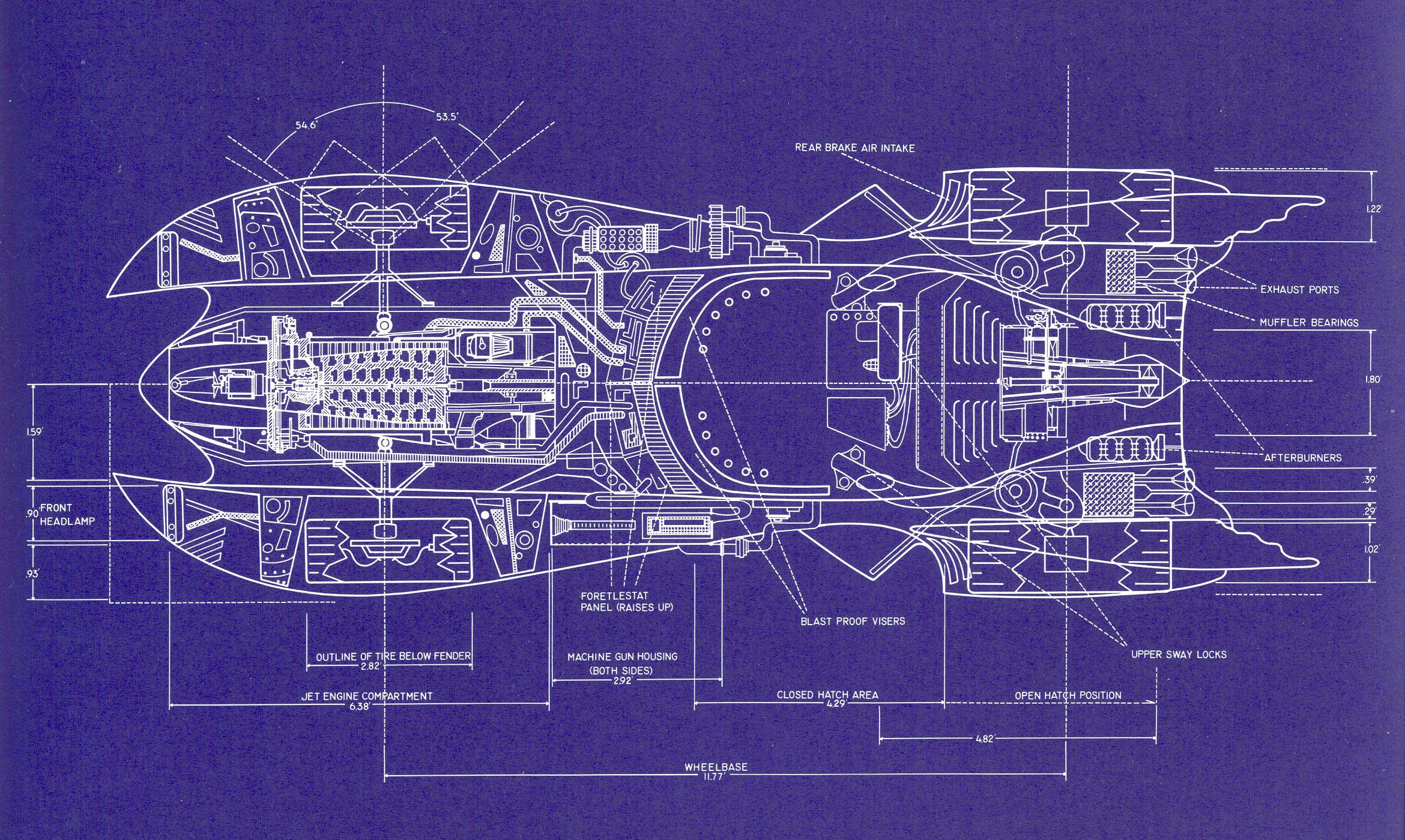 Batmobile1989 blueprint 1989 batmobile social media for Printable blueprints